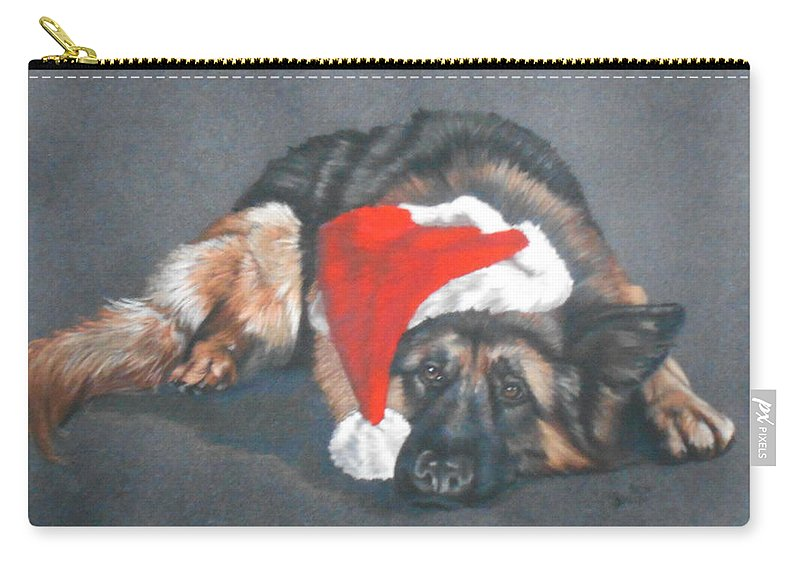 German Shepherd Carry-all Pouch featuring the pastel Weihnachtshund by Barbara Keith