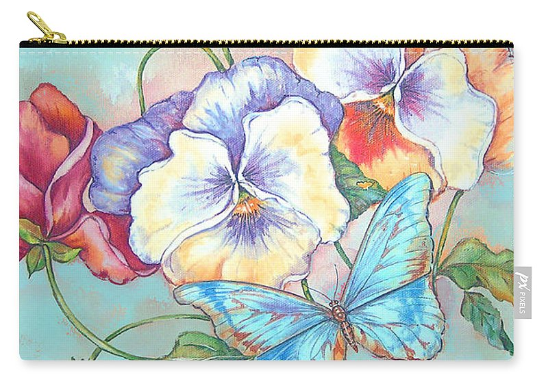 Jean Plout Carry-all Pouch featuring the painting Welcome Friends And Family-jp2831 by Jean Plout