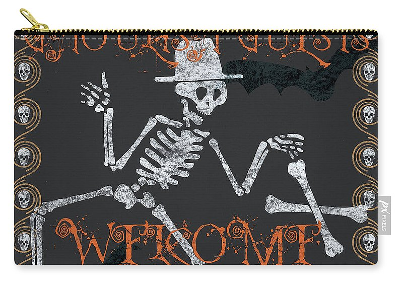 Halloween Carry-all Pouch featuring the painting Welcome Ghoulish Guests by Debbie DeWitt