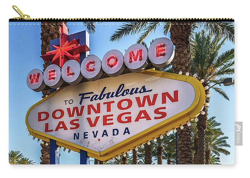 Welcome To Downtown Las Vegas Sign Carry-all Pouch featuring the photograph R.i.p. Welcome To Downtown Las Vegas Sign Day by Aloha Art