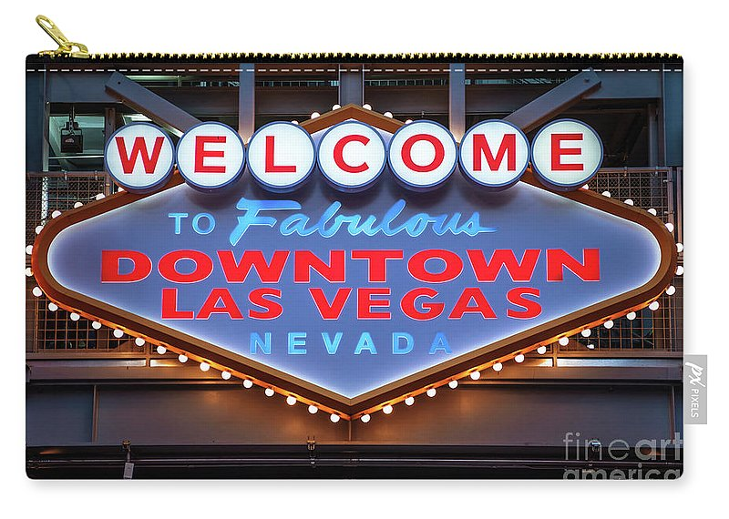 Welcome To Downtown Las Vegas Carry-all Pouch featuring the photograph Welcome To Downtown Las Vegas Sign Slotzilla by Aloha Art