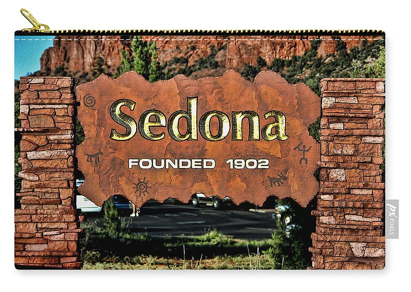 Sedona Carry-all Pouch featuring the photograph Welcome To by Jon Berghoff