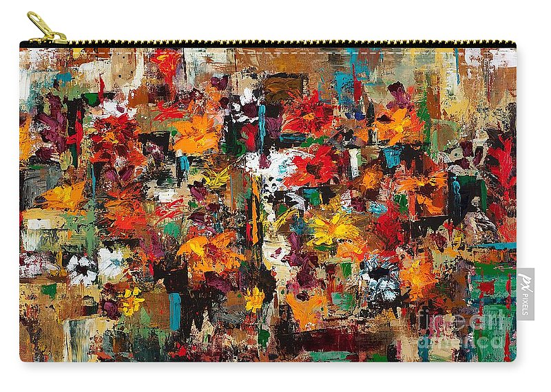 Abstract Flowers Carry-all Pouch featuring the painting Welcome To My Flower Garden by Frances Marino