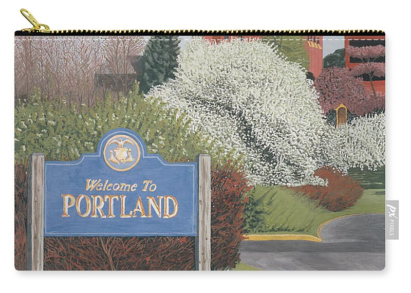 Church Carry-all Pouch featuring the painting Welcome To Portland by Dominic White