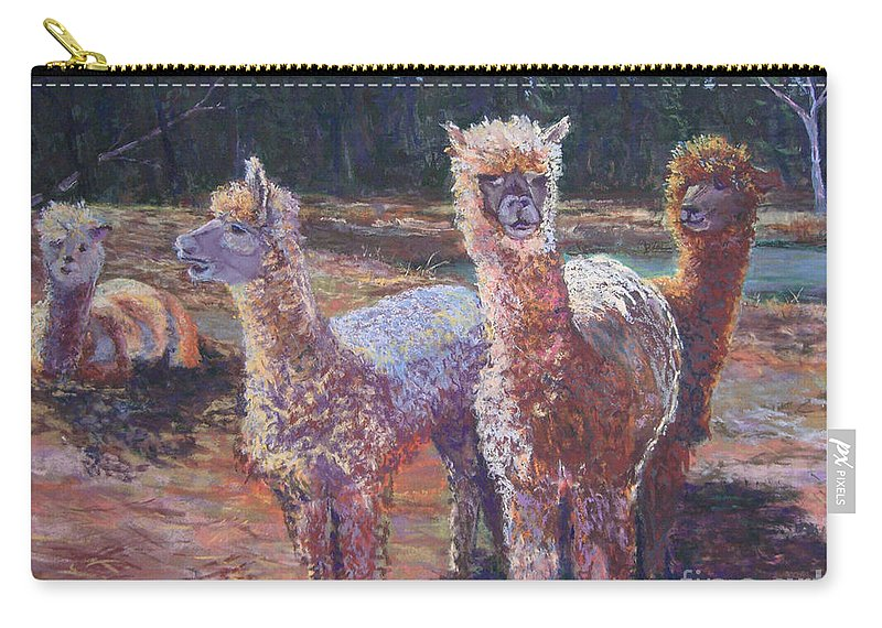 Alpaca Carry-all Pouch featuring the pastel Welcoming Crowd by Alicia Drakiotes