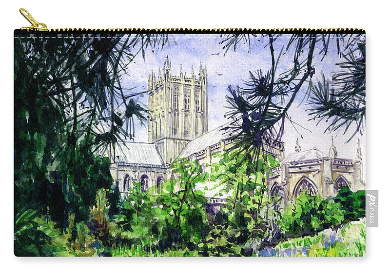 Wells Carry-all Pouch featuring the painting Wells Cathedral by John D Benson
