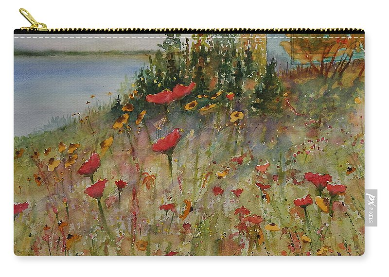 Nature Carry-all Pouch featuring the painting Wendy's Wildflowers by Ruth Kamenev