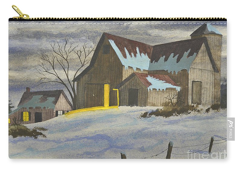 Snow Carry-all Pouch featuring the painting We're Home On The Farm by Charlotte Blanchard