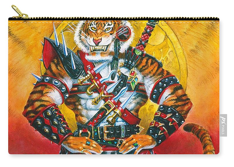 Fantasy Carry-all Pouch featuring the painting Werecat Warrior by Melissa A Benson