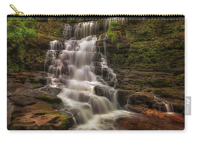 Sgwd Isaf Clun-gwyn Carry-all Pouch featuring the photograph West Bank View Of Sgwd Isaf Clun-gwyn Falls by Leighton Collins