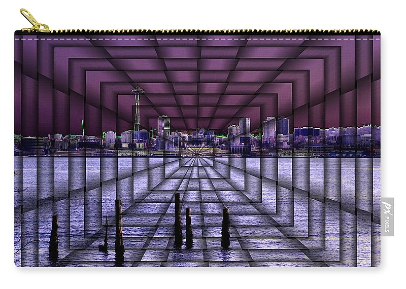Seattlel Carry-all Pouch featuring the digital art West Seattle Vortex by Tim Allen
