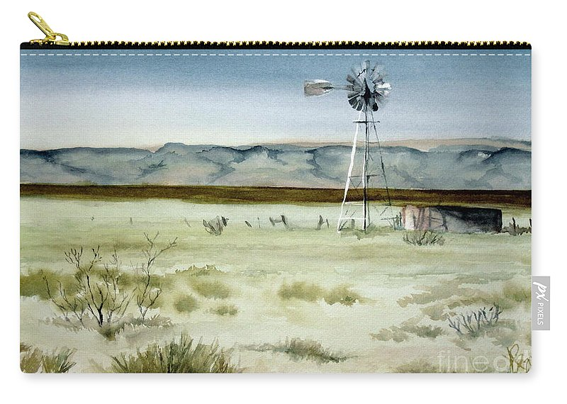 Windmill Carry-all Pouch featuring the painting West Texas Windmill by Karen Boudreaux