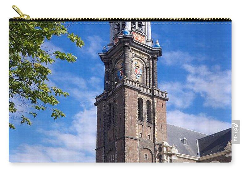 Westermarkt Carry-all Pouch featuring the photograph Westerkerk Tower And Church. Amsterdam. Netherlands. Europe by Bernard Jaubert