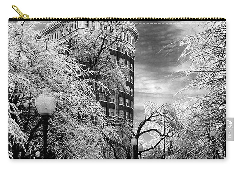 Western Auto Kansas City Carry-all Pouch featuring the photograph Western Auto In Winter by Steve Karol