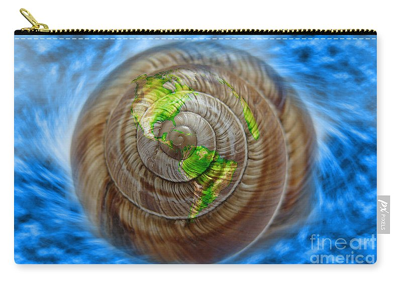 Concept Carry-all Pouch featuring the photograph Western Hemisphere On A Seashell by George Mattei