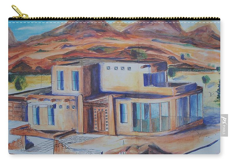 Western Carry-all Pouch featuring the painting Western Home Rendering by Eric Schiabor