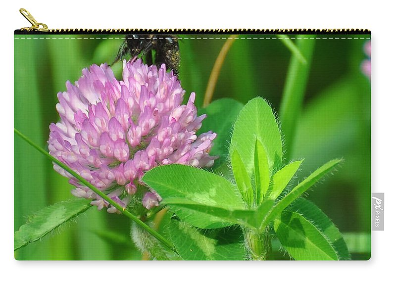 Western Honey Bee Carry-all Pouch featuring the digital art Western Honey Bee On Clover Flower by Chris Flees