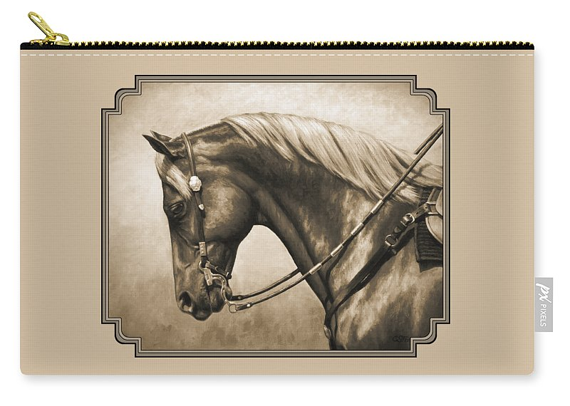 Horse Carry-all Pouch featuring the painting Western Horse Painting In Sepia by Crista Forest