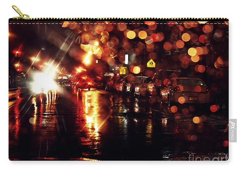 City Carry-all Pouch featuring the photograph Wet City 3 by Sarah Loft