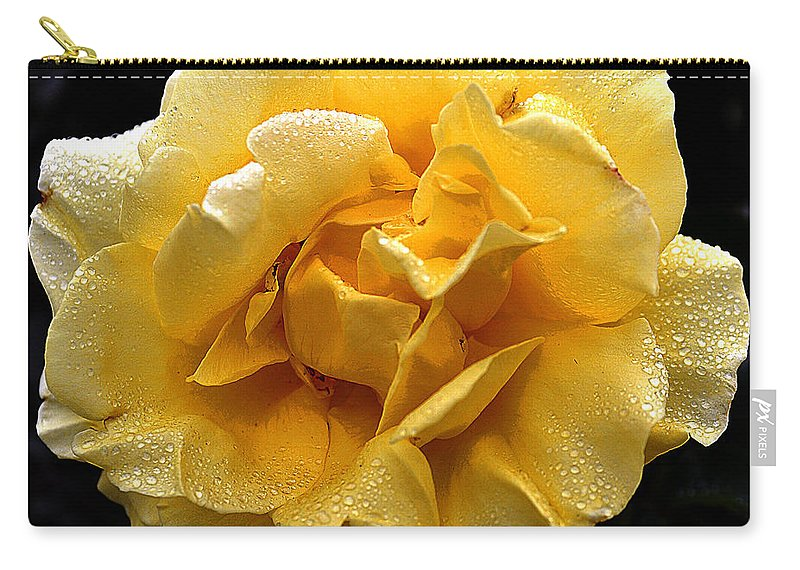Clay Carry-all Pouch featuring the photograph Wet Yellow Rose II by Clayton Bruster