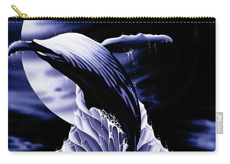 Whale Surf Surreal Carry-all Pouch featuring the painting Whale Moon by Geoffrey Smith