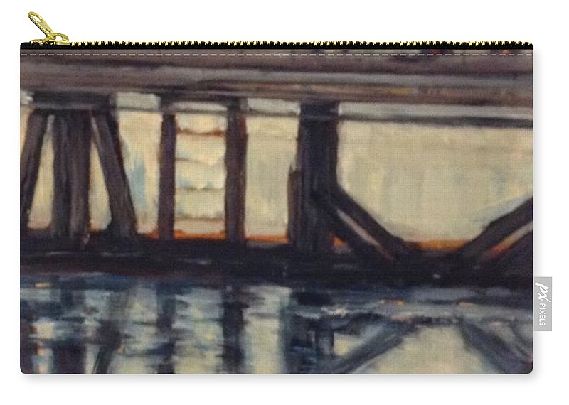 Water Carry-all Pouch featuring the painting Wharf Reflections@ Halifax N. S. by Beverly Hubley