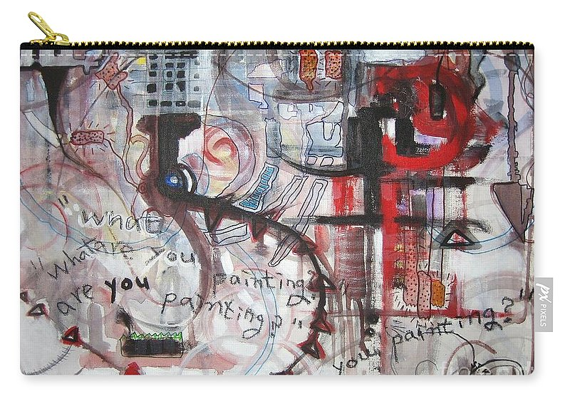 Abstract Paintings Carry-all Pouch featuring the painting What Are You Painting-red And Brown Painting by Seon-Jeong Kim