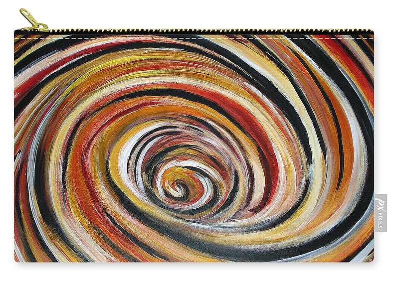 Circle Geometric Shape Abstract Carry-all Pouch featuring the painting What Goes Around Comes Around by Yael VanGruber