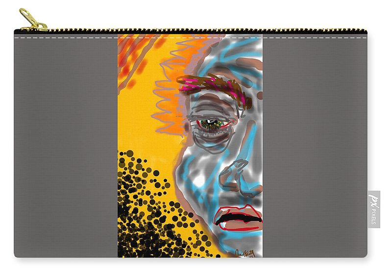 Modern Art Man Half Face Color Carry-all Pouch featuring the digital art What Happened? by David R Keith