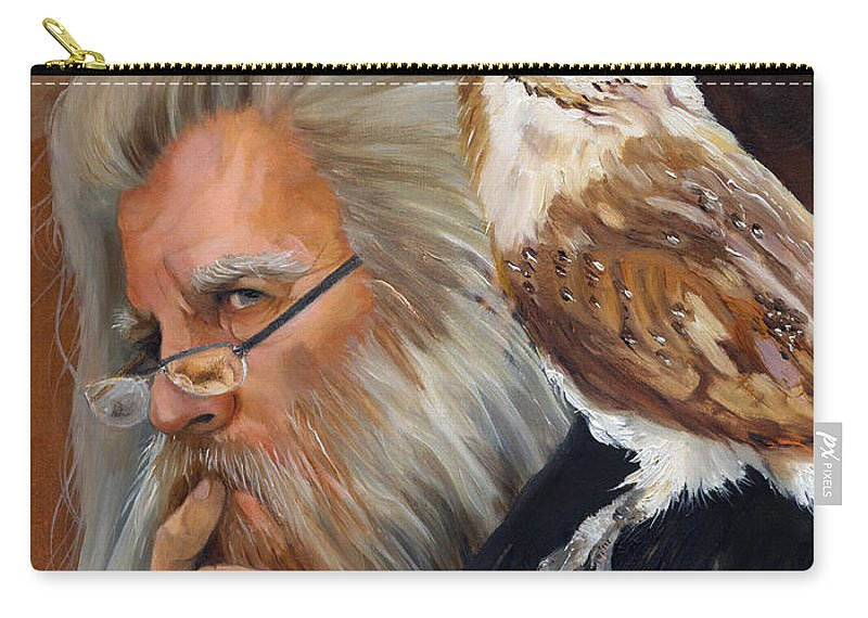 Wizard Carry-all Pouch featuring the painting What If... by J W Baker