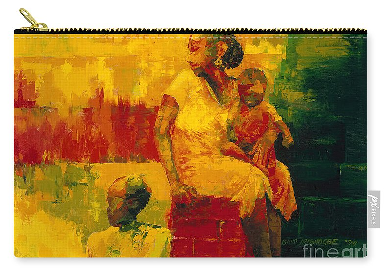 What Is It Ma? 1994 (oil On Board) By Bayo Iribhogbe (contemporary Artist) Carry-all Pouch featuring the painting What Is It Ma by Bayo Iribhogbe