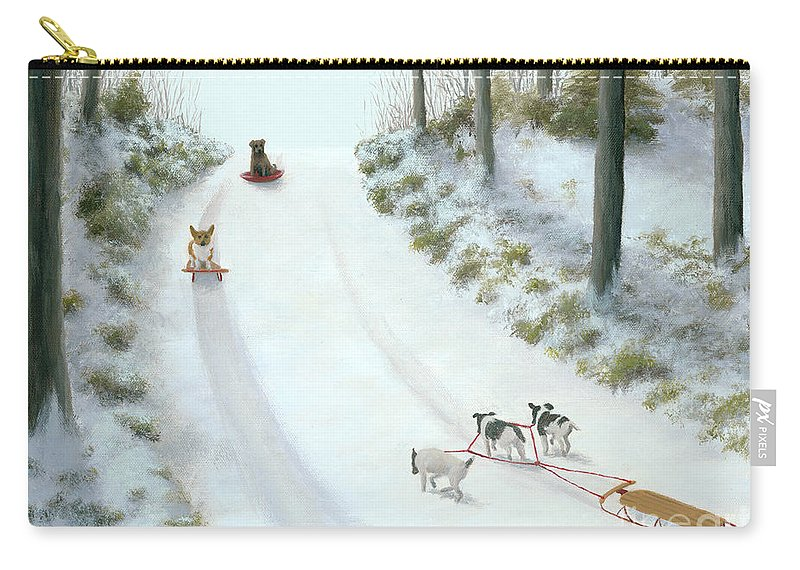 Corgi Carry-all Pouch featuring the painting What They Do While We're At Work by Phyllis Andrews