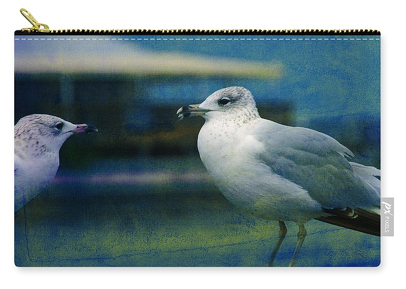 Seagulls Carry-all Pouch featuring the photograph What's Up Bro' by Susanne Van Hulst