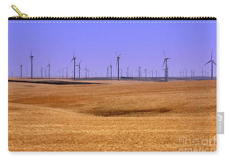Wind Turbines Carry-all Pouch featuring the photograph Wheat Fields And Wind Turbines by Carol Groenen