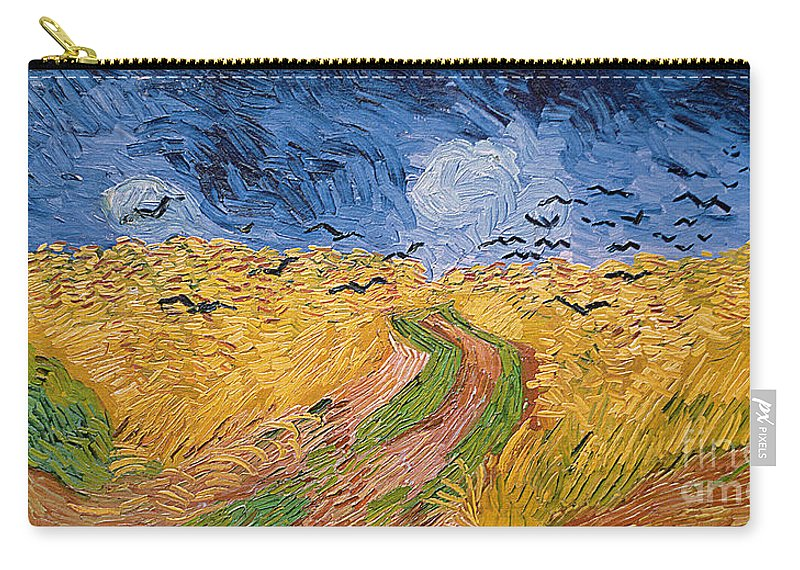 Landscape;post-impressionist; Summer; Wheat; Field; Birds; Threatening; Sky; Cloud; Post-impressionism Carry-all Pouch featuring the painting Wheatfield with Crows by Vincent van Gogh