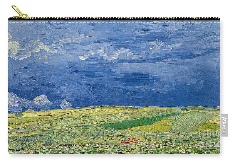 Field; Cloud; Sky; Landscape; Countryside; Post-impressionist; Auvers Sur Oise; French Carry-all Pouch featuring the painting Wheatfields Under Thunderclouds by Vincent Van Gogh