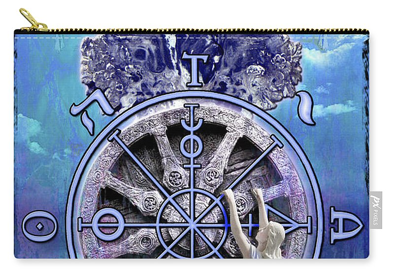 Divine Carry-all Pouch featuring the digital art Wheel Of Fortune by Tammy Wetzel