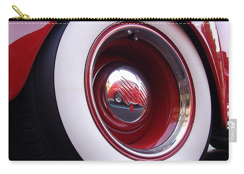 Classic Car Carry-all Pouch featuring the photograph Wheel Reflection by Carol Milisen