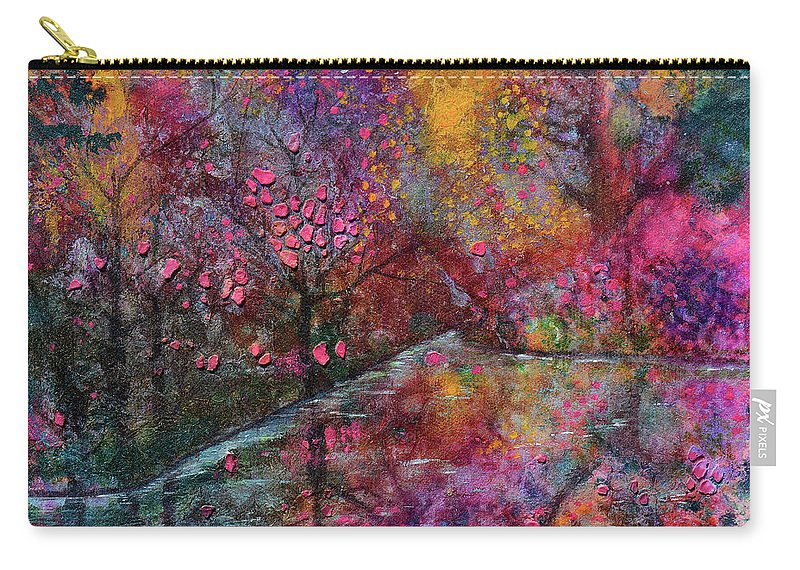 Cherry Blossoms Carry-all Pouch featuring the mixed media When Cherry Blossoms Fall by Donna Blackhall