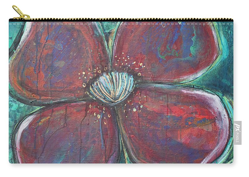 Poppy Carry-all Pouch featuring the painting When I Finally Grow Up by Laurie Maves ART