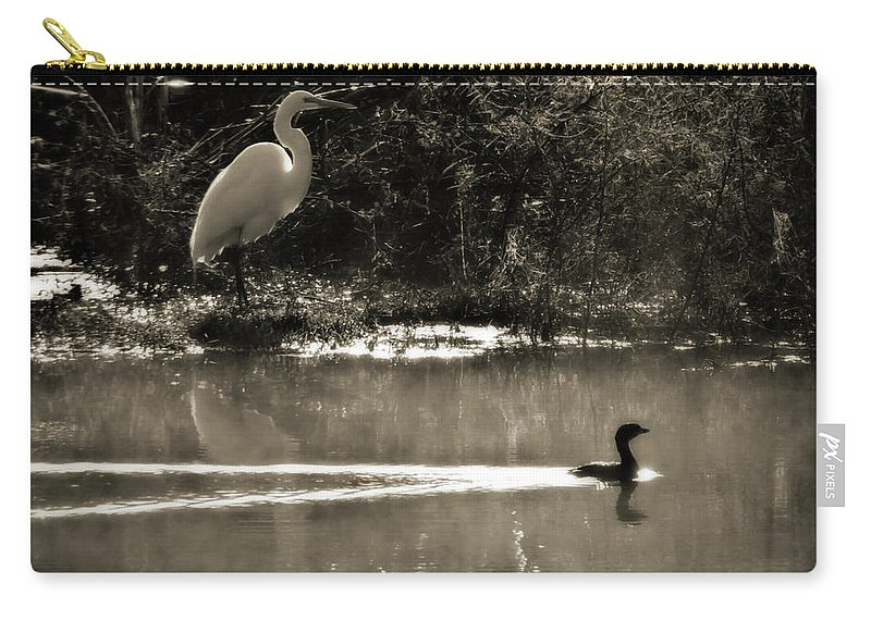 American Egret Carry-all Pouch featuring the photograph When The Morning Fog Lifted by Steven Sparks