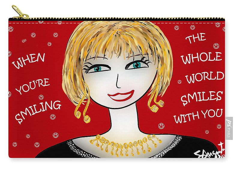 Inspire Carry-all Pouch featuring the drawing When You're Smiling The Whole World Smiles With You by Sharon Augustin