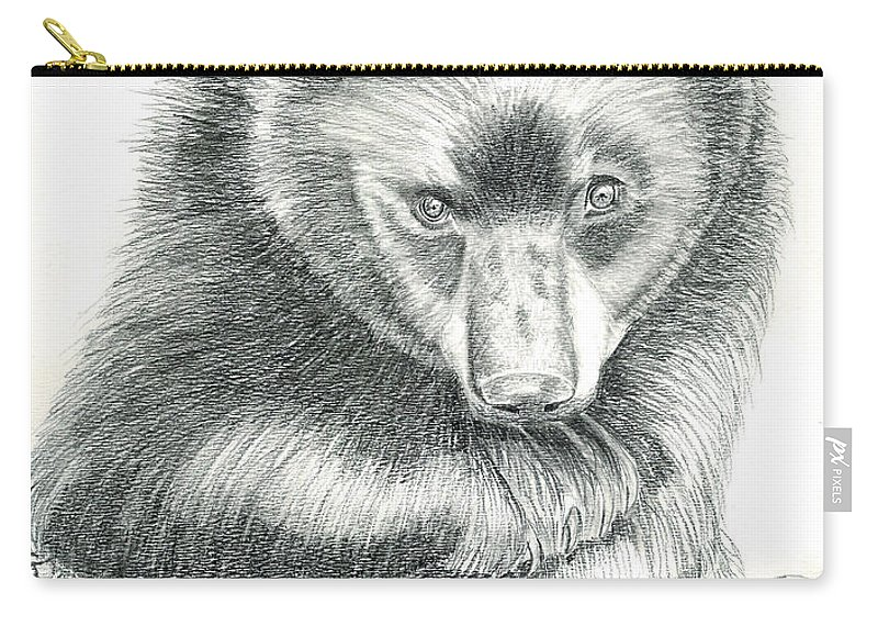 Black Bear Carry-all Pouch featuring the drawing Where by Joette Snyder