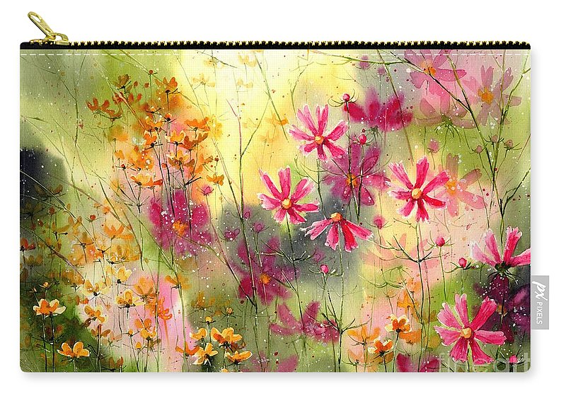 Pink Carry-all Pouch featuring the painting Where The Pink Flowers Grow by Suzann Sines