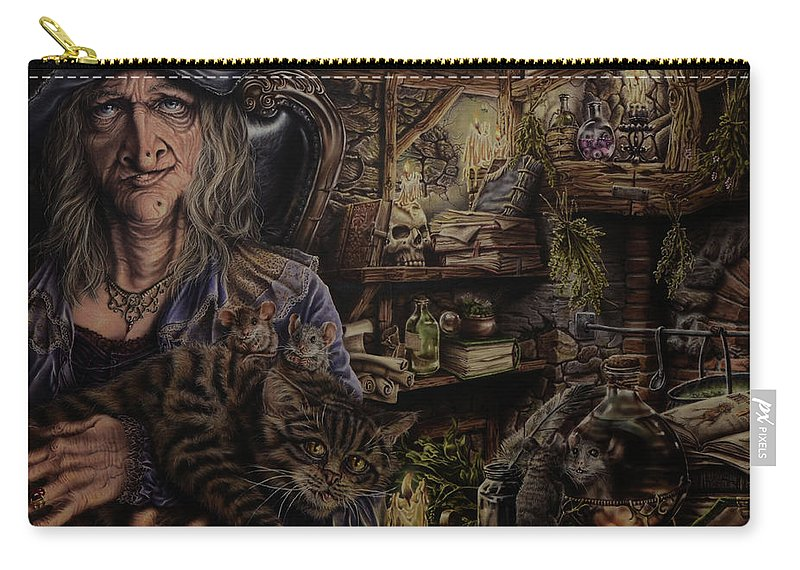 Fantasy Carry-all Pouch featuring the painting Which witch is which by Robert Haasdijk