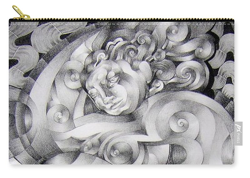 Art Carry-all Pouch featuring the drawing Whim by Myron Belfast