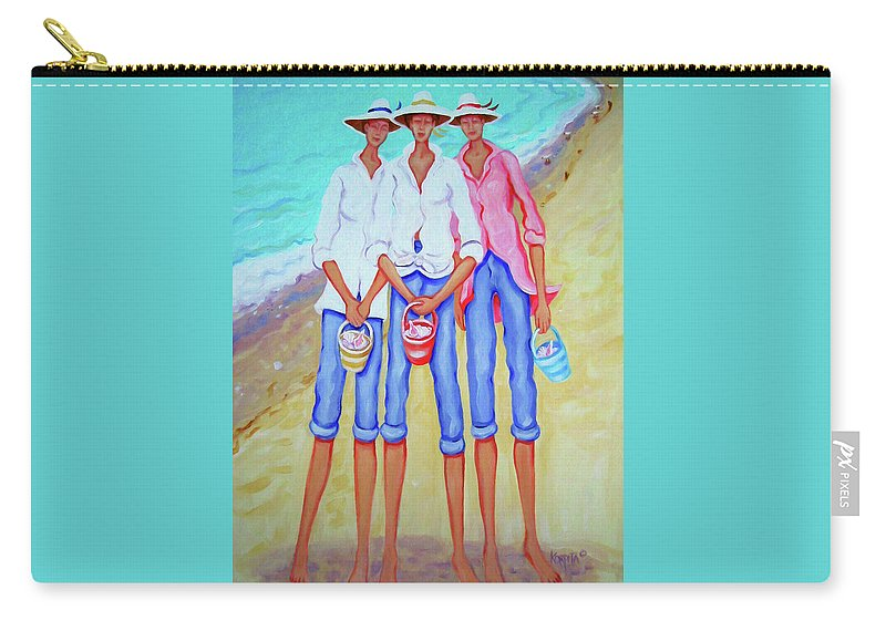 Whimsical Beach Women Carry-all Pouch featuring the painting Whimsical Beach Women - The Treasure Hunters by Rebecca Korpita