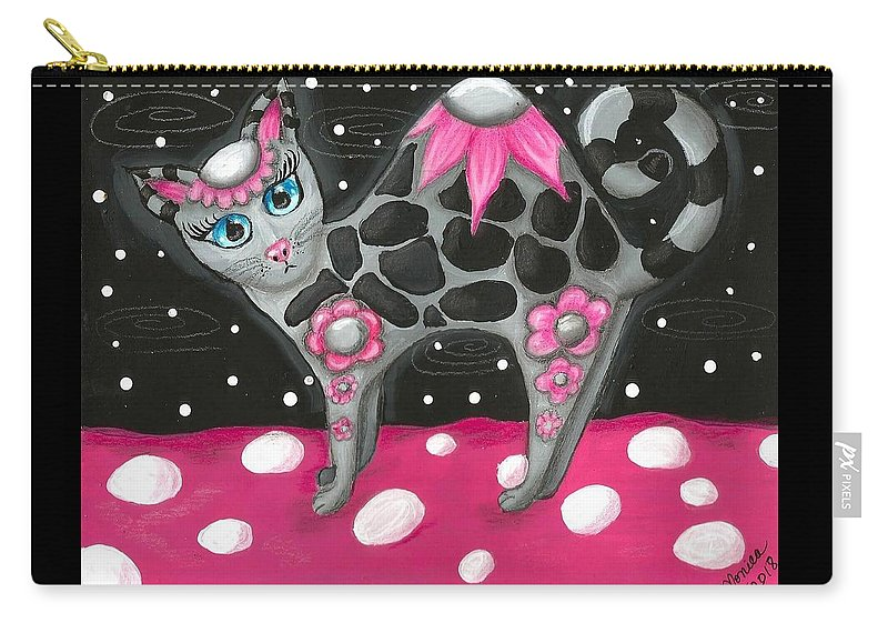 Pink Black Whimsical Kitty Cat Polka Dot Grey Blue Eyes Painting Colorful Vibrant Fun Carry-all Pouch featuring the painting Whimsical Black Pink Floral Kitty Cat by Monica Resinger