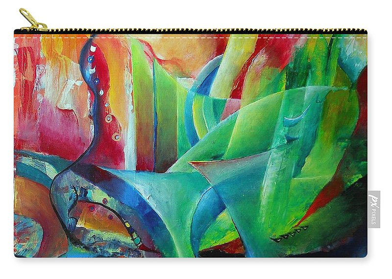 Abstract Art Carry-all Pouch featuring the painting Whimsical Mood-landscape And Fields by Wolfgang Schweizer