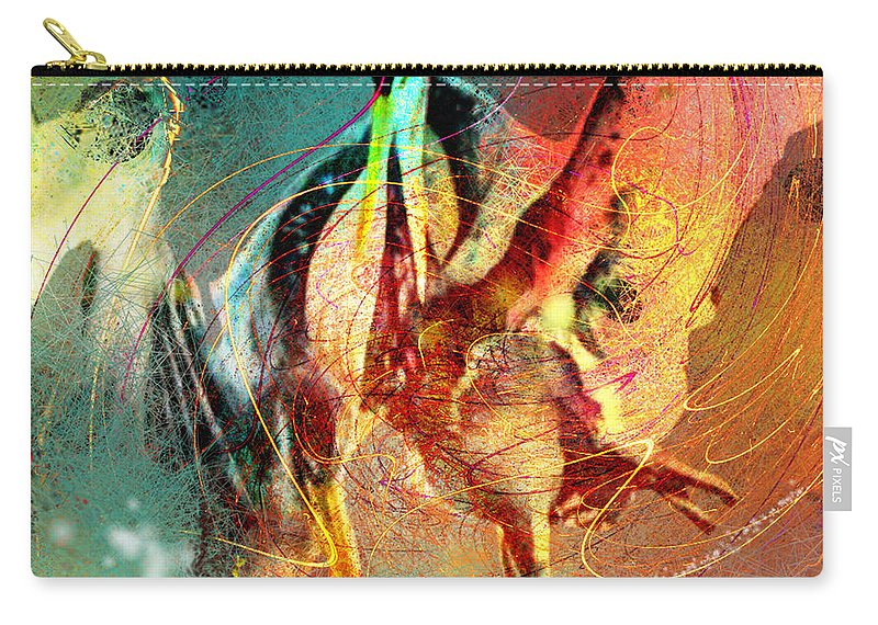 Miki Carry-all Pouch featuring the painting Whirled In Digital Rainbow by Miki De Goodaboom